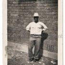 40s Vintage African American Man Men Hat Jeans Brick Wall Old Photo Black People