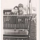 1940-1949 Vintage Brother & Sister Posing On Backyard Swing Old Photo Children