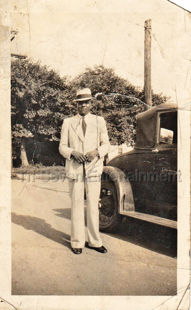 Vintage Well Dressed African American Man Suit Fedora Photo Black Americana