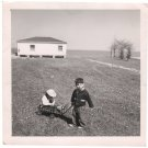 1940-1949 Vintage American Boy and Girl in Wagon Old Photo Children Kids USA