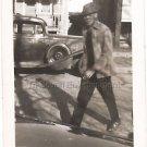 1940-1949 Vintage Handsome African-American Man Walking Across Street Photo USA