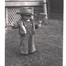1940-1949 Vintage Cute American Boy in Fedora Hat Broom Photo Kids Children USA