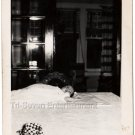 1940-1949 Vintage Baby Girl Lying on Table Old Photo American Children B&W USA