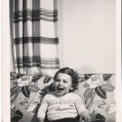 1940-1949 Vintage Happy American Baby Boy Posing Couch Toddler Old Photo B&W USA