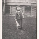 1940-1949 Vintage Sad Cute American Boy w/Small Broom Old Photo Children Kids US