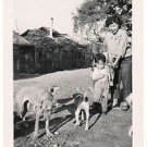 Vintage Asian American Photo Woman Mother Boy Dogs People Old Japanese Americana