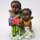 African-American Figurine Children Boy Girl Black Americana Poly Resin Statue