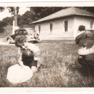 1950-1959 Vintage American Boys Playing on Grass Outside Old Photo Original USA