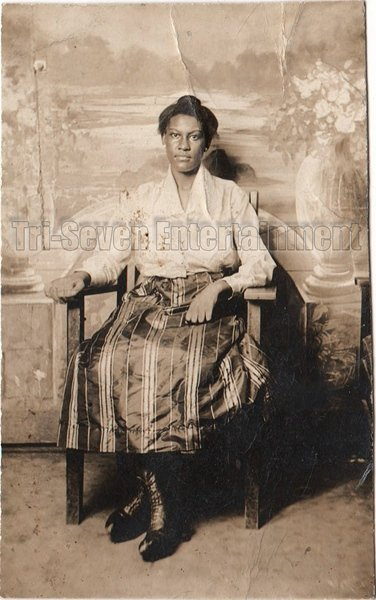 Antique African American Woman Sitting Real Photo Postcard RPPC Black Americana