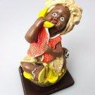 African-American Figurine Pretty Girl Banana Black Americana Poly Resin Statue