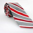 J FERRAR Men's New Tie Red Gray White Stripes Solid NWOT Necktie Ties R0182