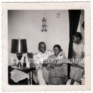 Vintage African American Photo Father with Daughters Kids Family Black Americana