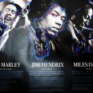 Bob Marley Jimi Hendrix Miles Davis Poster w/ Biography Music Art Photo (18x24)