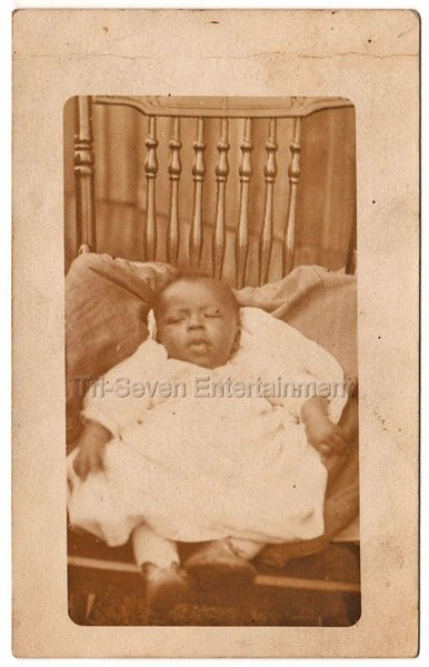 African American Baby Girl Antique Old Real Photo Postcard RPPC Black Americana