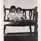 1940-1949 Vintage Happy Brother and Sister Old Photo American Children USA B&W