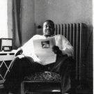 Vintage African American Photo Man Reading Paper Old Black Americana Men People