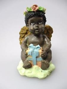 African-American New Figurine Pretty Angel Black Americana Poly Resin Statue