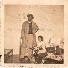 Vintage African-American Man Father Daughter Tricycle Old Photo Black Americana