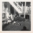 1950s-60s Vintage African-American Man w/Hound Dog Litter Old Photo Black People