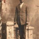 Antique African American Man Real Photo Postcard RPPC Old Black Americana TRP11