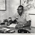 Vintage African American Military Man at Desk Old Photo Black Americana HS46