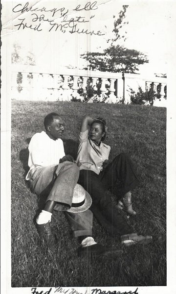 Vintage African American Couple Man Woman Outside Old Photo Black Americana V038