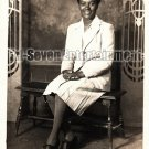 Vintage African American Pretty Woman in Dress Old Photo Black Americana V13