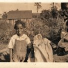 Antique African American Happy Little Girl Child Photo Old Black Americana HS19