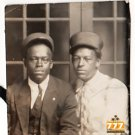 Antique African American Men in Suits Tie Hats Old Photo Black Americana V062