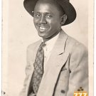 Vintage African American Happy Man Suit Real Photo Postcard Black Americana V079