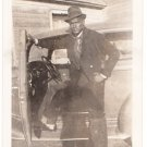 Vintage African American Cool Man in Top Hat Photo Old Black Americana V072