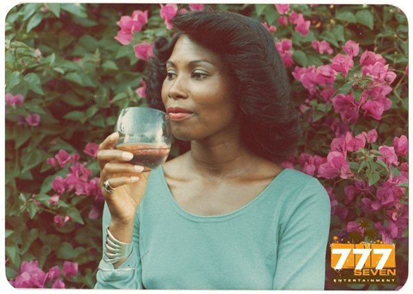Vintage 1970s African American Pretty Woman Holding Glass Old Color Photo CO03