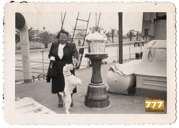 Vintage African American Woman Feeding Terrier Dog Photo Black Americana HS89