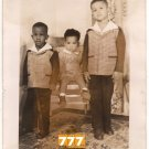 Vintage Three Young African American Boys Old Kids Photo Black Americana V088