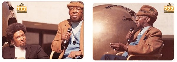 Vintage 1970s African American Man with Microphone Lot of 2 Old Color Photo CO08