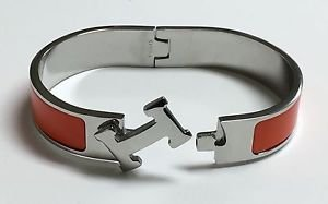 "Articulating H white gold plated 16 6.25"" bangle bracelet orange PREMIUM QUALITY"