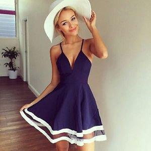 NEW Women's Chiffon Navy Blue & White Strappy Dress, Size 8, Large, Express, H&M