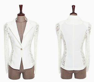 NEW Women White Lace Trimmed Vintage Shirt Blazer Jacket, Large, 8, Express Zara