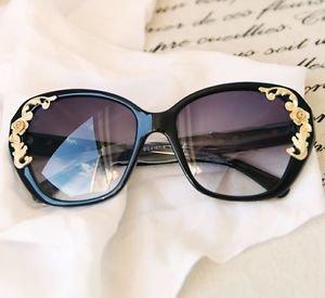 NEW Women's Vintage Oversized Designer Retro Fashion Sunglasses Rose Gold Scroll