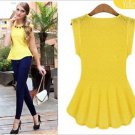 NEW Career Pinup Peplum Top Blouse - Medium-Yellow or White - Zara, Express, H&M