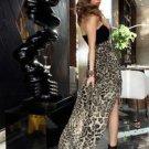NEW Women Leopard Gold Chiffon High Low Strapless Party Dress Maxi - Medium