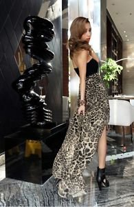 NEW Women Leopard Gold Chiffon High Low Strapless Party Dress Maxi - Medium