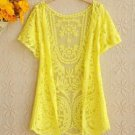 NEW Beautiful Lace Crochet Cardigan, Small, Yellow, Black, Anthropologie, Zara