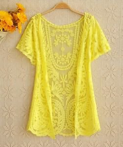 NEW Beautiful Lace Crochet Cardigan, Small, Yellow, Black, Anthropologie, Zara