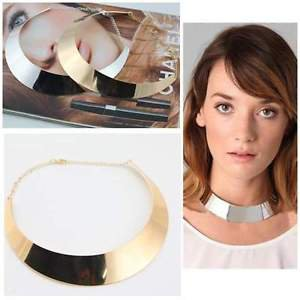 NEW!! High Fashion Collar Bib Statement Wide Choker Bar Necklace in Gold, Silver
