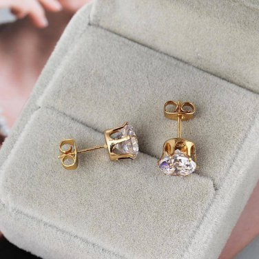 6mm White Zircon 18K Yellow Gold Plated Stud Earrings