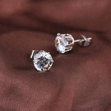 6mm White Zircon 18K White Gold Plated Stud Earrings