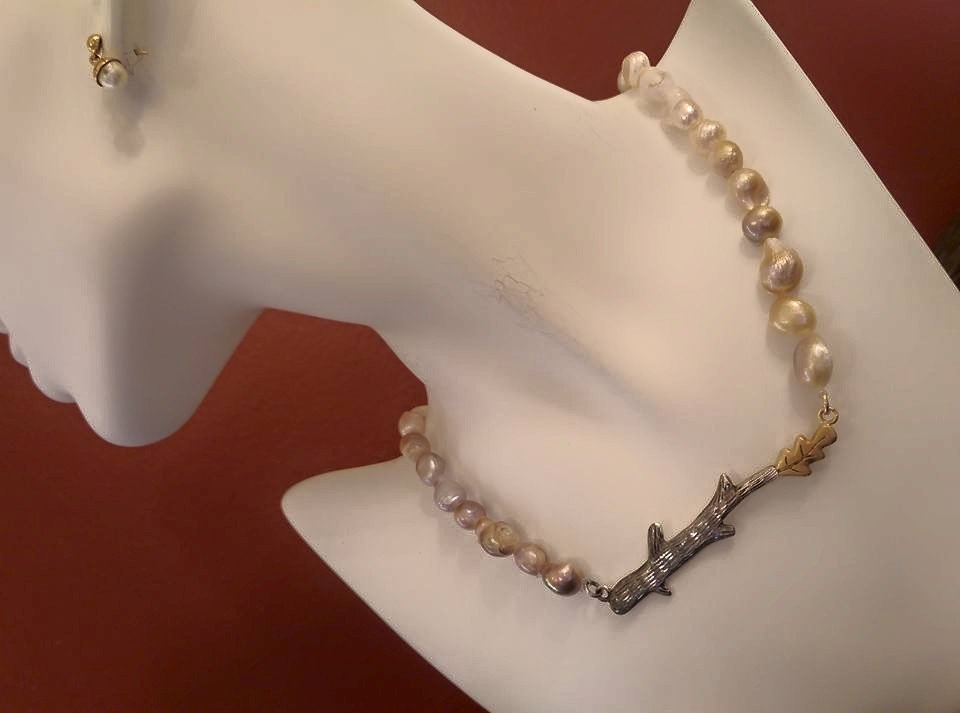 Hope necklace - Silver Tree branch with Fresh Water Pearls - Handmade