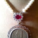 Antique Necklace with King of Egypt Coin, Beaded with Fresh Water Pearl - 925 Sterling Silver