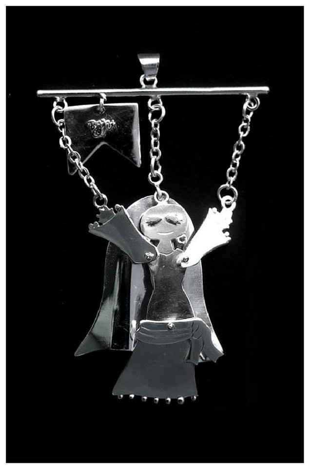 Egyptian Belly Dancer Marionette Sterling Silver Pendant/Key Chain - Handmade
